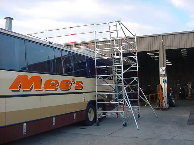Safe access to the roof of large vehicles, trams, trains or buses using Bridgetek - Easy Reach Scaffolding Melbourne